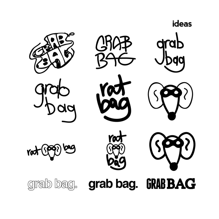 "9 quick logo designs for the fictional band, ""Rat Bag"" or ""Grab Bag"""